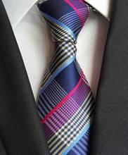 2016 Classic Silk Mens Ties Neck Ties 8cm Pink Blue Ties for Men Formal Wear Business Suit Wedding Party Gravatas with Brand