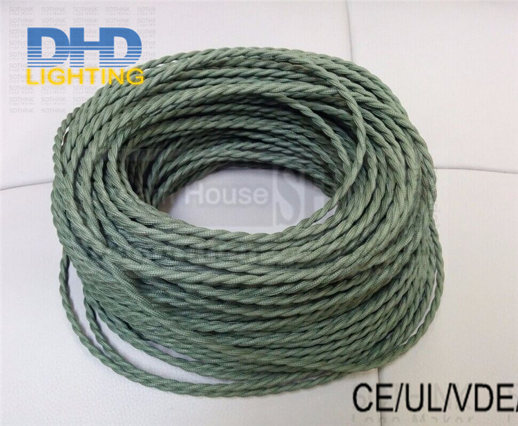 Free shipping 50meters 2 coresX0.75mm blue&amp;brown Textile olive green fabric twisted wire electrical vintage braided cable cord<br><br>Aliexpress