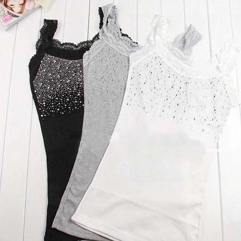 Women's Rhinestone Lace Stunning Based Sleeveless Vest Tank Top Tee T-Shirt Black White Gray A1250(China (Mainland))