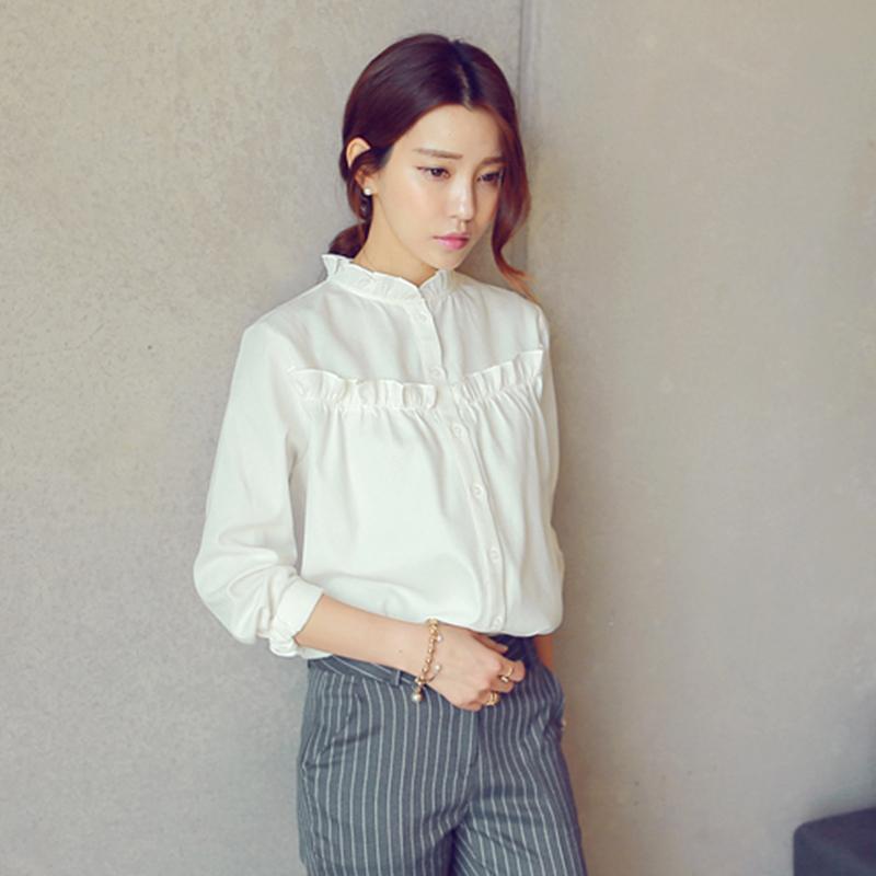 2015 new summer Korean white lotus leaf lace collar small diamond ladies short-sleeved chiffon shirt female short-sleeved shirt
