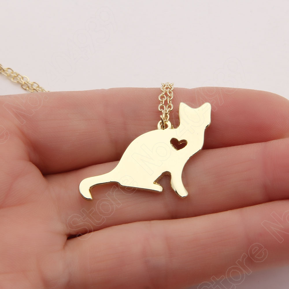 Cat Necklace Kitty Silver Lover Kitten Memorial Gift Christmas Gift Cute Gold Choker Women Charms Necklaces & Pendants Statement(China (Mainland))