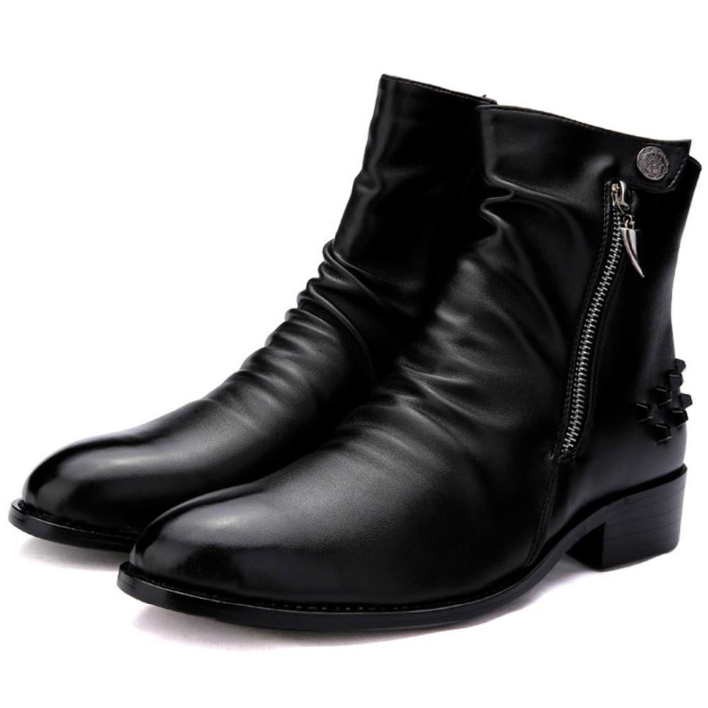 Mens Black Zip Up Boots - Boot Hto