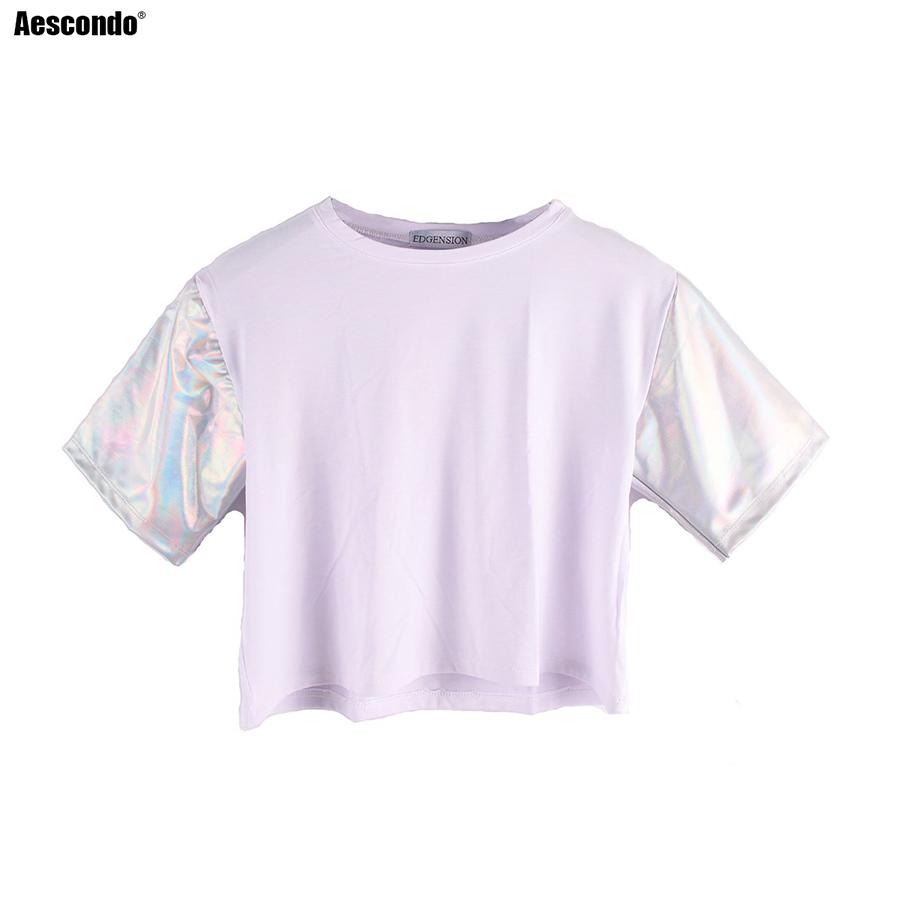 Aescondo Women's Laser Silver Reflective Sleeve Patchwork Short Crop T-shirts Ladies' Shiny Raglan Sleeves Crop Tops And Tees(China (Mainland))