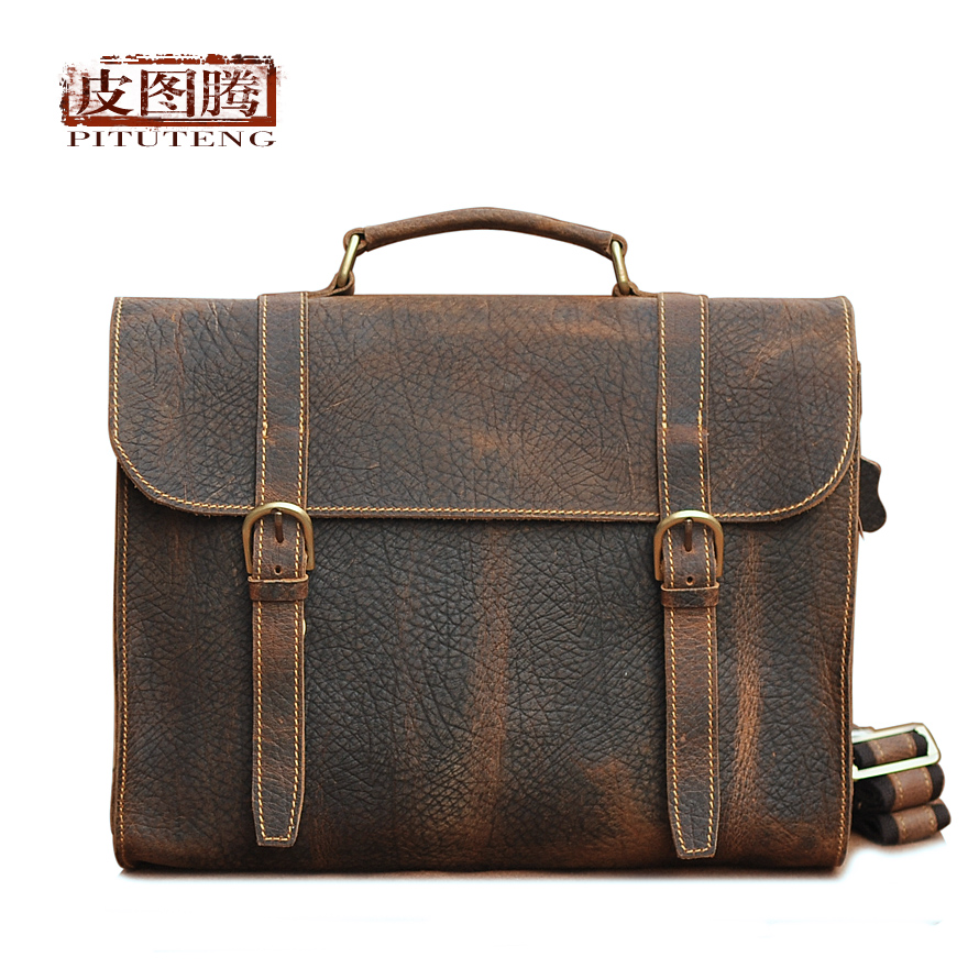 freeshipping Leather handmade leather goods limited edition man bag shoulder bag handbag messenger bag laptop bag(China (Mainland))