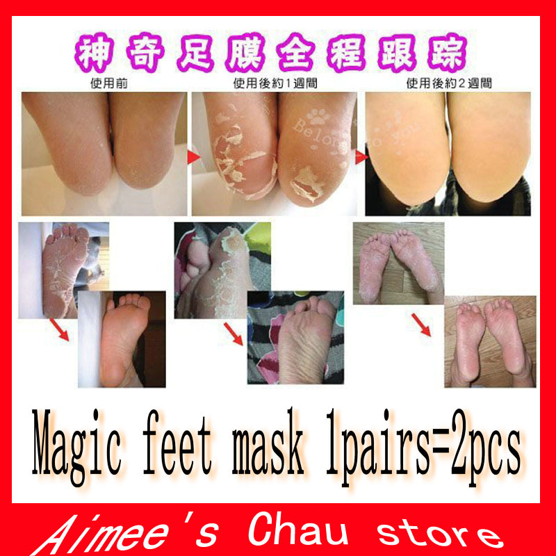 2pcs=1pair moisture Foot Callus peeling renewal remove dead skin Cuticles Heel smooth exfoliating feet mask care sticker(China (Mainland))