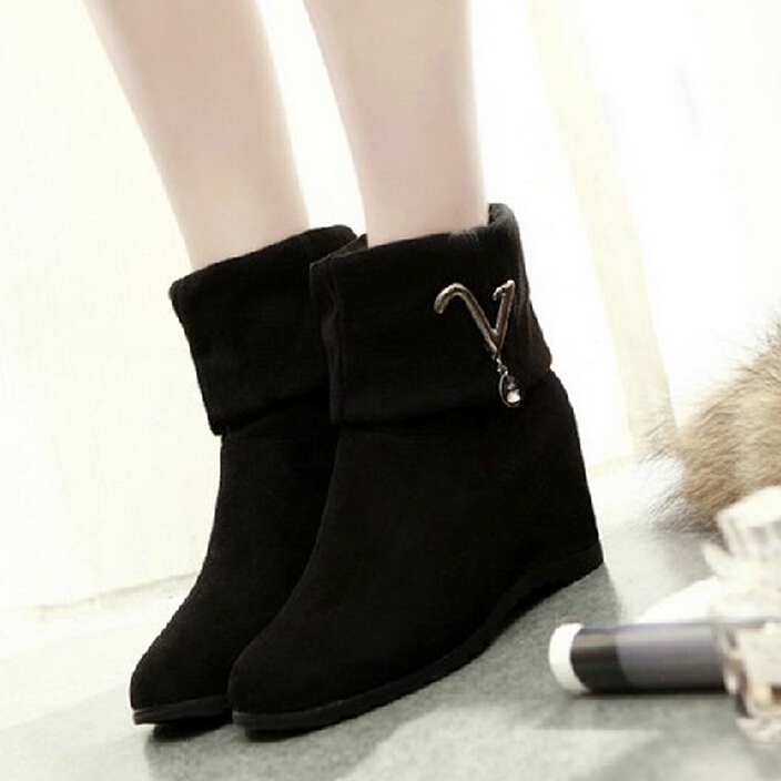 Womens Black Color Block Patch Work Suede Hidden Wedge High Heel Ankle Boots Tb0385<br><br>Aliexpress