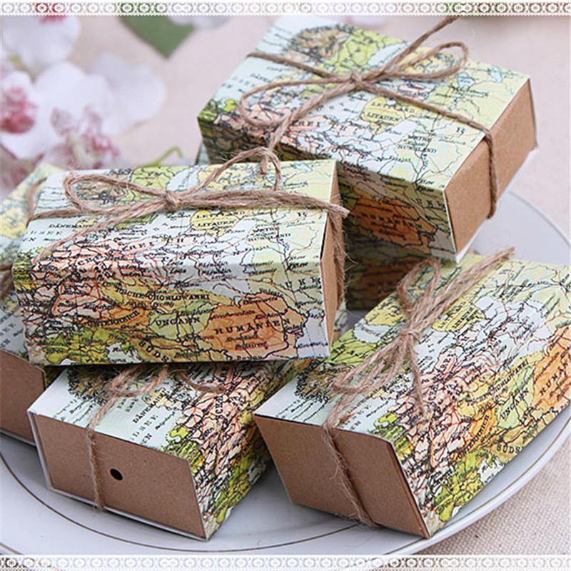 50pcs casamento world map wedding favors boxes wedding for Favor boxes for wedding