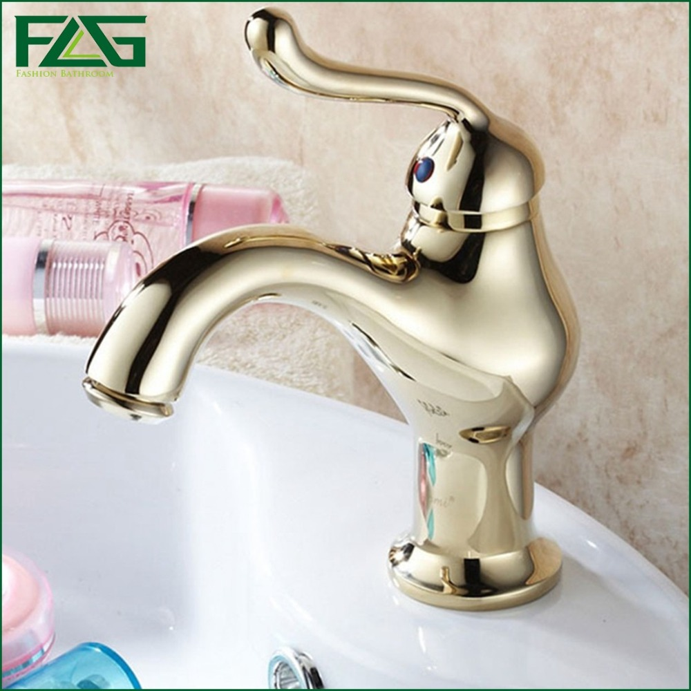 FLG Nordic Style Basin Faucet Single Lever Deck Mounted Round Grifo Cascada Golden Taps Cold & Hot Vintage Vanity Sink Taps M133(China (Mainland))
