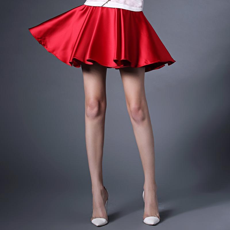 2015 summer skirt 6xl plus size high waist satin mini