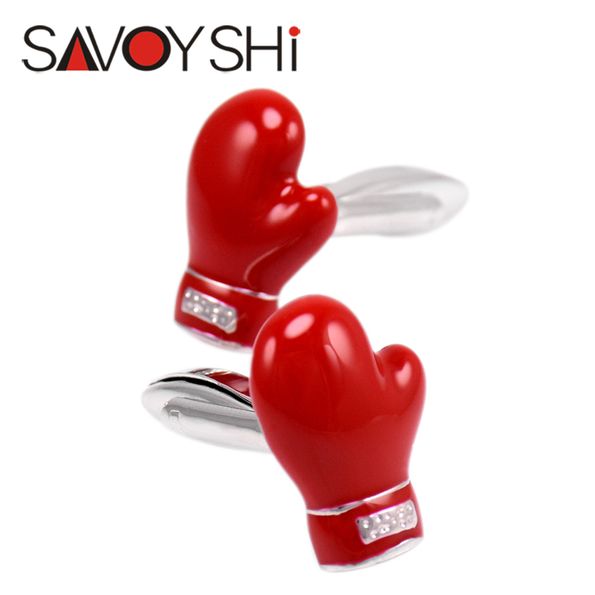 Red Boxing Gloves Shape Cufflinks for Mens Shirt Novelty Enamel Cuff links High quality SAVOYSHI Brand Jewelry Free Shipping(China (Mainland))