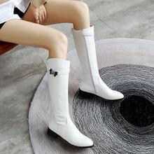 แฟชั่นสุภาพสตรี Knee ฤดูหนาวสูงรองเท้า Pu หนังแบนรอง(China)