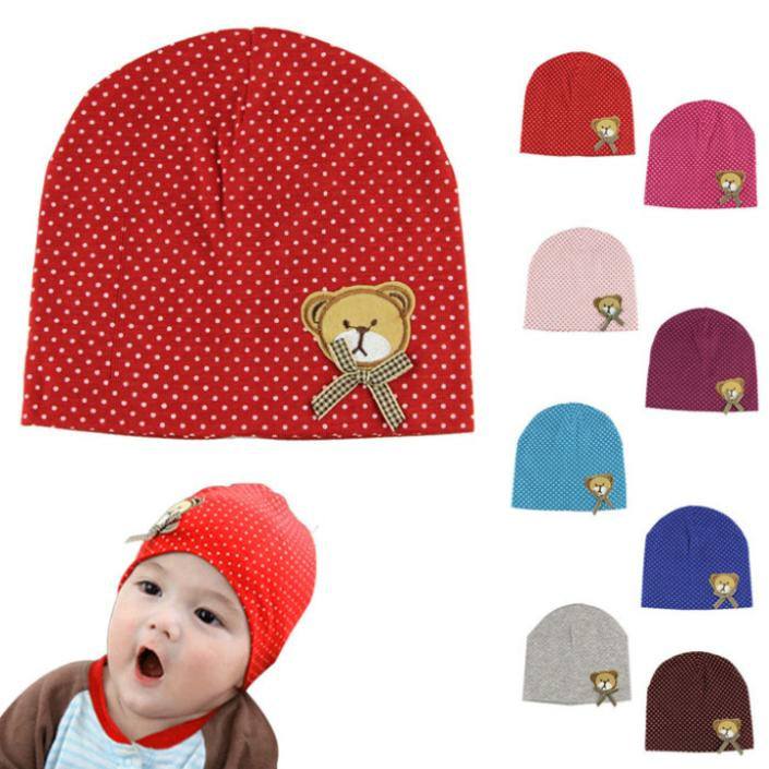 Delicate Fashion Spring & Autumn Baby Head Cap with Cute Little Bear Pattern Babys Cotton Cap hot selling(China (Mainland))