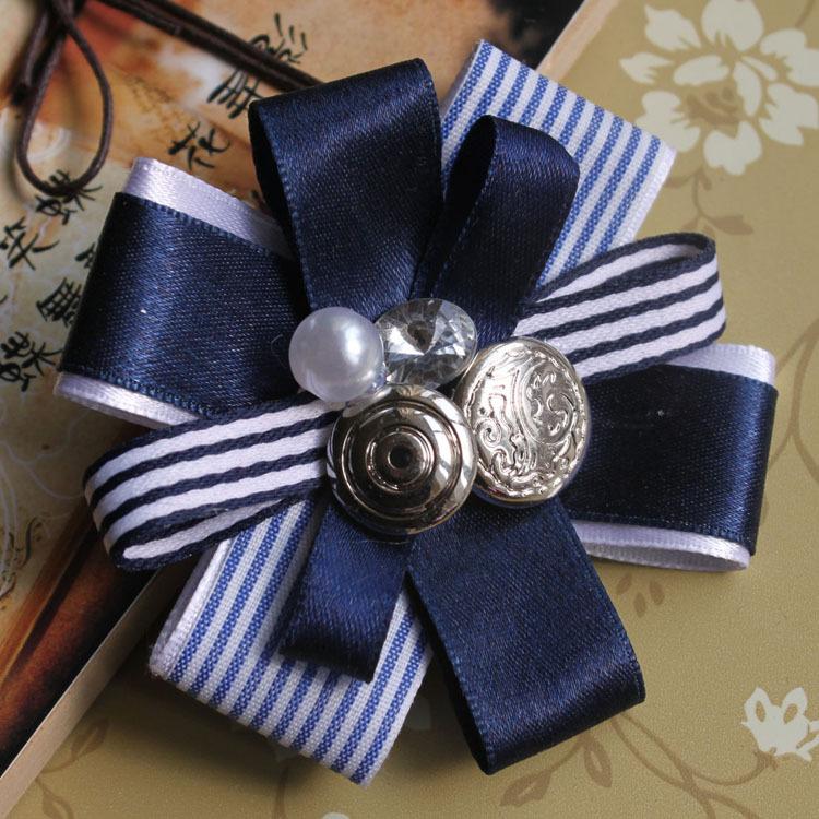Original Handmade British School Brooch &Pins Clips Court Vintage Flower Brooch Navy Blue Lace Badge(China (Mainland))
