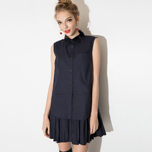 [TWOTWINSTYLE] 2016 summer new preppy style layered pleated spliced shirts dress women(China (Mainland))