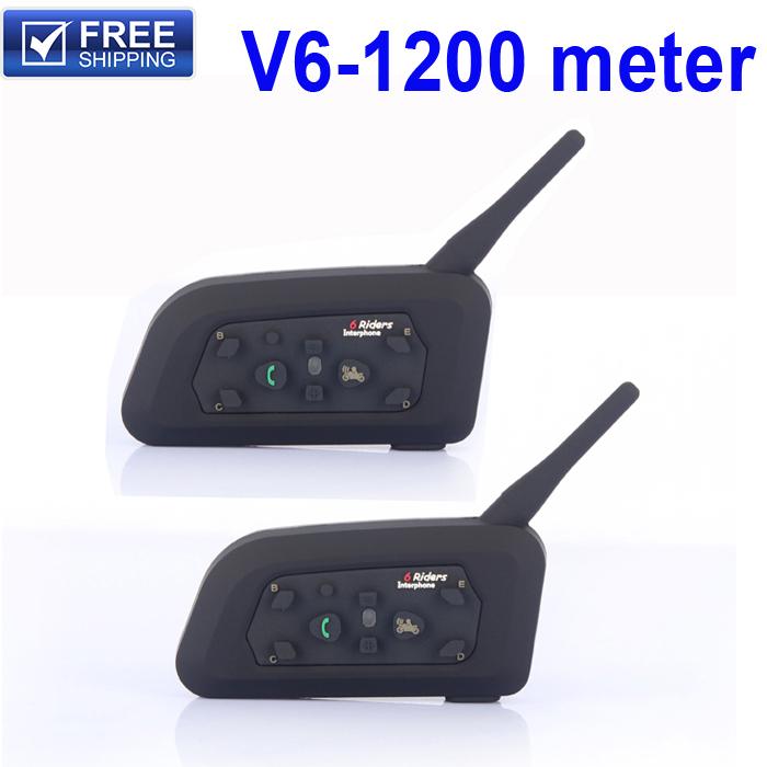 V6 Bluetooth Intercom for Motorcycle Bluetooth Helmet Headset Intercomunicador Moto 6 Riders BT Interphone walkie talkie helmet(China (Mainland))