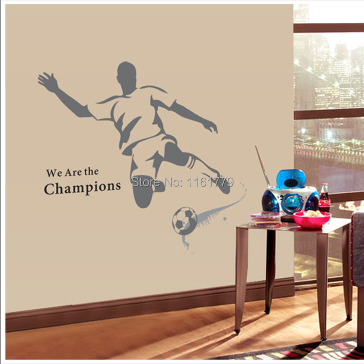 2014 New The World Cup Large Soccer Ball Football Wall Sticker For Boys Bedroom Decor Wall Art Decals Sport Poster 120*110cm(China (Mainland))