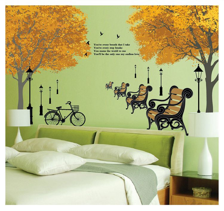 Elegant New Design Wall Decorations Stickers Large Size Plant Pattern Series Maple(China (Mainland))