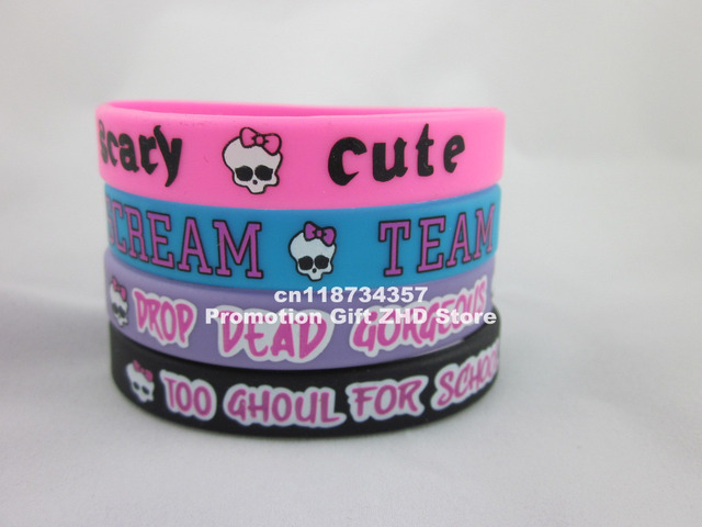 Monster High wristband, silicon bracelet, printed wristband, 100pcs/lot, free shipping