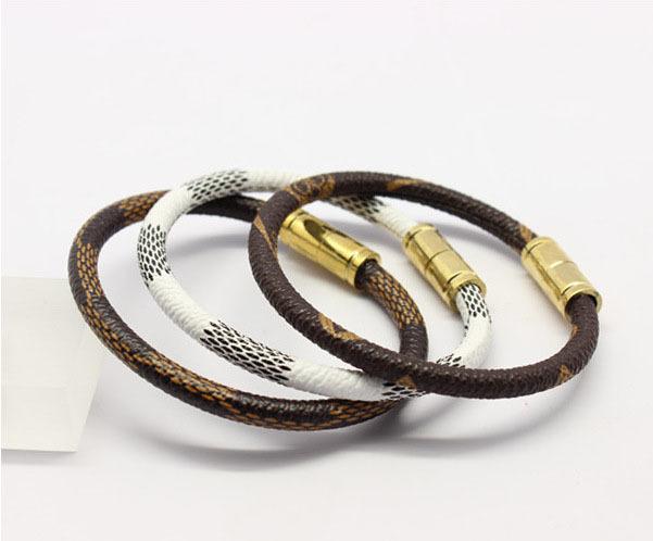 free shipping (6 pieces/lot) 2015 wholesale titanium brand Genuine Leather pattern white coffee women magnetic bangle bracelet(China (Mainland))