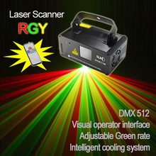 New SUNY Remote DMX 200mW RGY Xmas Laser Stage Lighting Scanner Dance Party Show Light LED Effect Projector Mix Yellow Red Green(China (Mainland))