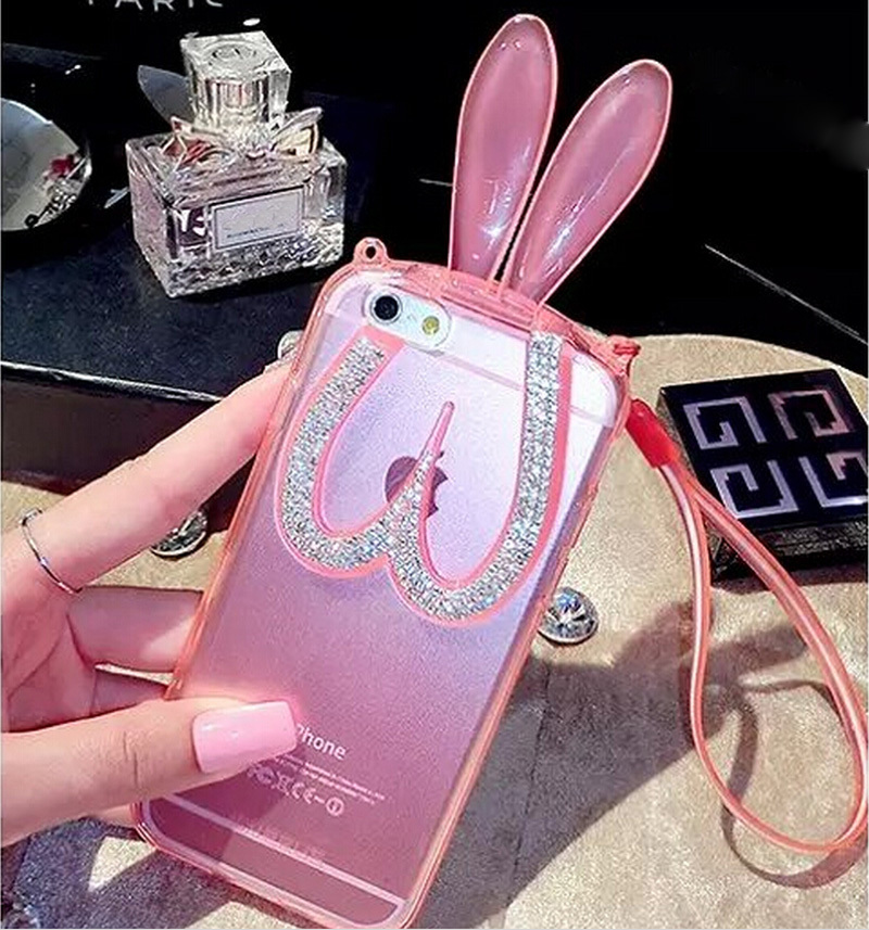 luxury Diamond Rabbit ear case for iphone6 transparent soft TPU cover Rabbit ear holder for iphone6 plus(China (Mainland))
