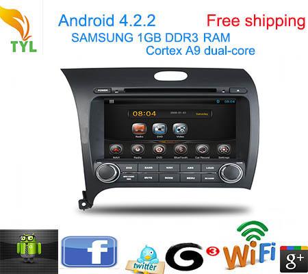 Автомобильный DVD плеер TYL Android 4.2 DVD GPS Kia cerato/k3/GPS 1.6 GHz /ram 1 gb/wifi автомобильный dvd плеер tyl android 4 2 dvd gps kia cerato k3 gps 1 6 ghz ram 1 gb wifi