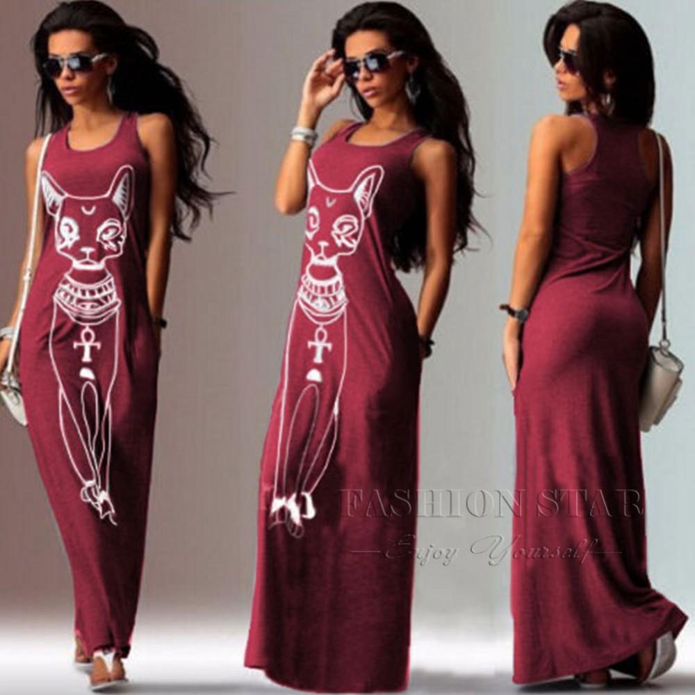 Женщины причинно о образным вырезом без рукавов женщин сексуальный мода длинное платье женщина Большой размер кот летние платья