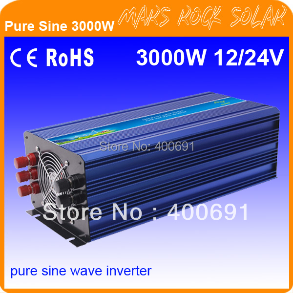 3000W 12V/24VDC 110V/220VAC Pure Sine Wave Solar Inverter or Wind Inverter, Surge Power 6000W, Single Phase PV Inverter with CE(China (Mainland))