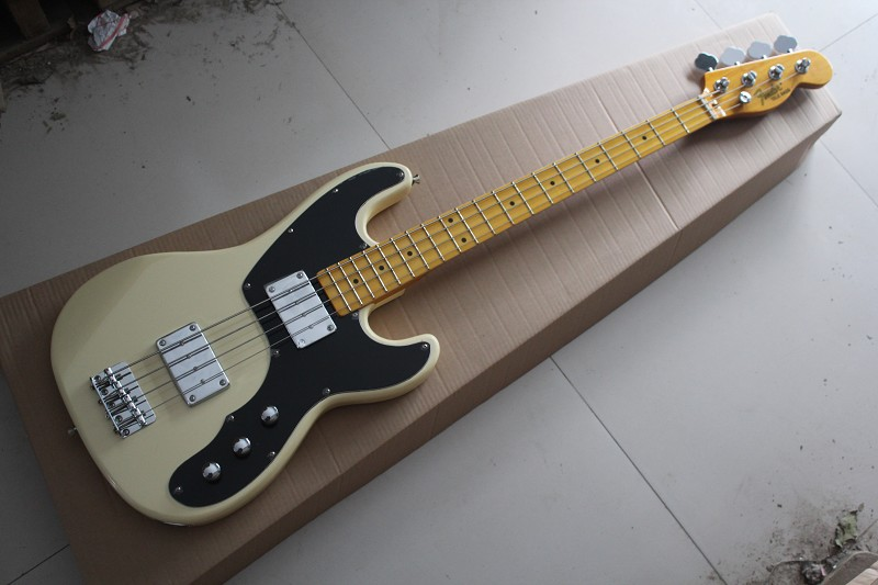 Free shipping Hot Selling Guitar Maple Fingerboard F Tele telecaster Bass Beige 4 Strings Electric Guitar 141110(China (Mainland))
