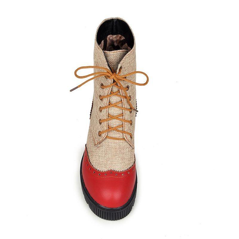ซื้อ จัดส่งฟรี2016ใหม่ผู้หญิงบู๊ทส์p atchworkฤดูใบไม้ร่วงมาร์ตินรองเท้าลูกไม้ขึ้นรองเท้าเวดจ์ฤดูหนาวหญิงรองเท้าข้อเท้าชุดSBT2350