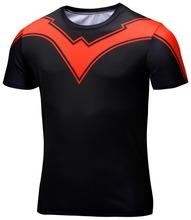 V-striped short-sleeved T-shirt