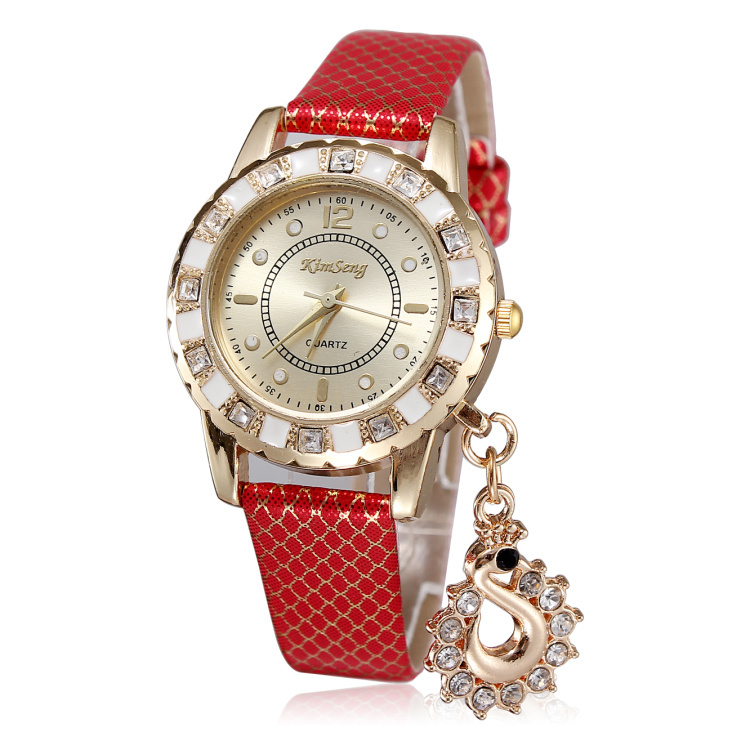 Hot sale women rhinestone watches luxury brand leather straps watches with pendants rose gold plated dial free shipping jjy14(China (Mainland))