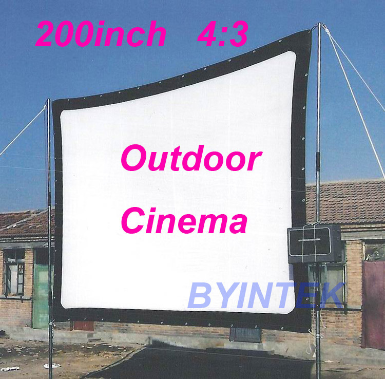 Matte White Soft fabric Home Theater 200inch 4:3 Projection HD Video Projector Simple Cinema Screen with holes Free Shipping(China (Mainland))