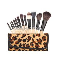 12 Pcs Makeup Brush Brush Cosmetic Foundation Eyeshadow Eyeliner Lip Brush With Leopard Case Free shipping