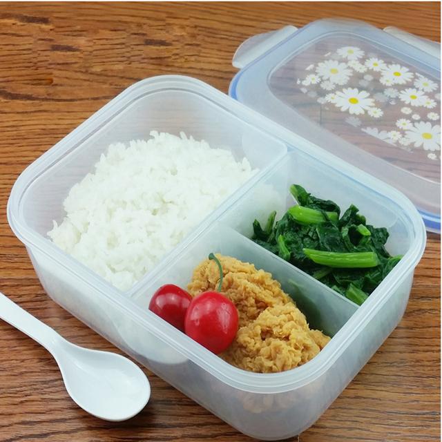 Мода Большой Емкости Наборы Посуды ПП Бенто Коробка для Завтрака Пищевых Контейнеров Ручка Singel Слой Lunch Box Посуда Высокого Качества