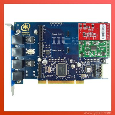 TDM410P 4 Ports with 1FXO & 1FXS modules  Asterisk card for VoIP IP PBX
