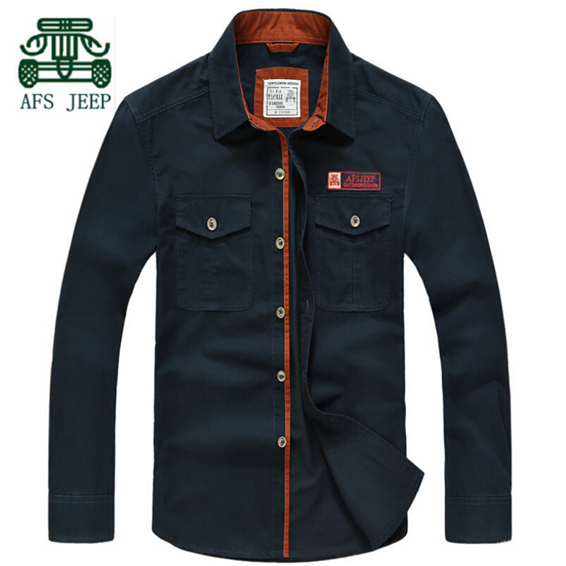 AFS JEEP Autumn Mens Full Sleeve Cotton Shirt,Good Quality Pure Cotton Resist Wear Military Shirt,Solid Color Casual Slim ShirtОдежда и ак�е��уары<br><br><br>Aliexpress