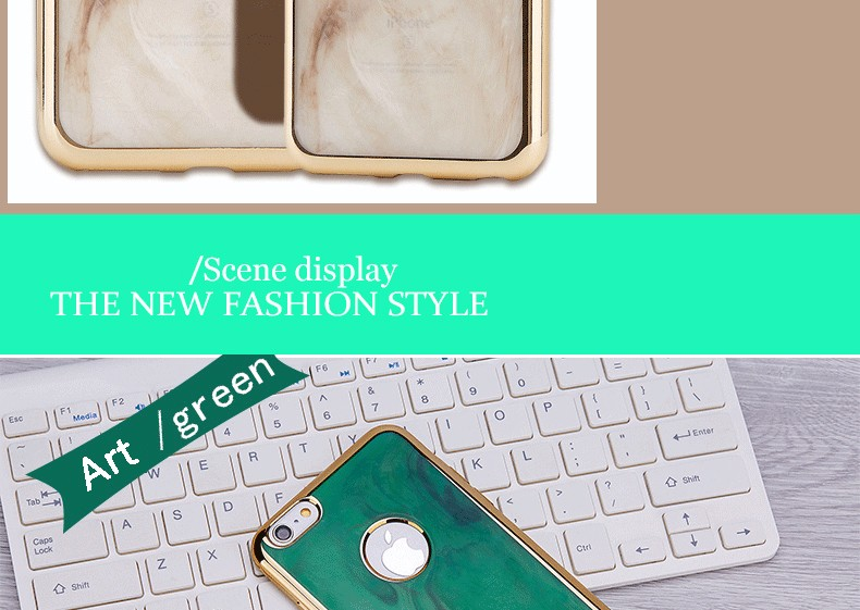 electroplating Phone Cases Pattern Emerald TPU Silicone Phone Case For iphone 6S / 6S Plus Luxury Painted Soft Back Cover