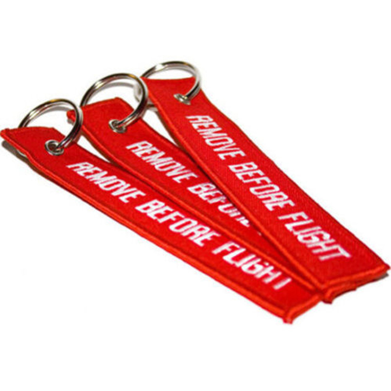 Remove Before Flight Embroidered Canvas Specil Luggage Tag Label Key chain Free Shipping
