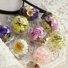 Maxi Necklace Collares Trendy Round New Handmade Glass Bottle Necklace Boutique Real Dried Flower Pendant Jewelry For Women(China (Mainland))