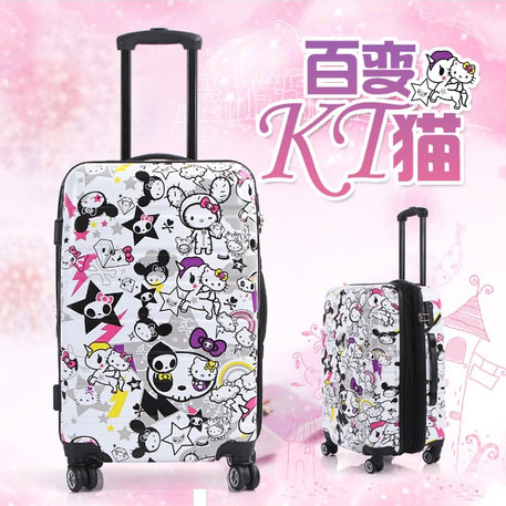 "28""hello kitty traveller case Children Kid ABS+PC trolley suitcase luggage Pull Rod trunk case Women Girl fashion cute Cartoon(China (Mainland))"