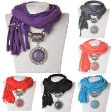 New Crystal Fashion Necklaces For Women 2014 Fabric Crystal Flower Resin Shawl Statement Necklace Scarf Pendants Necklaces
