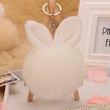2019 novo 8 cm fofo coelho bola de pele chaveiro bonito creme preto pompom artificial coelho pele chaveiro feminino saco do carro chaveiro(China)