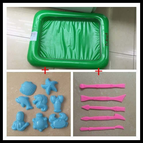 Inflatable sand tray indoor play+8 pc Mold+5 pc mold knife Novelty Indoor Beach Toys Modeling Clay Magic Sand Drawing Toys Gift(China (Mainland))