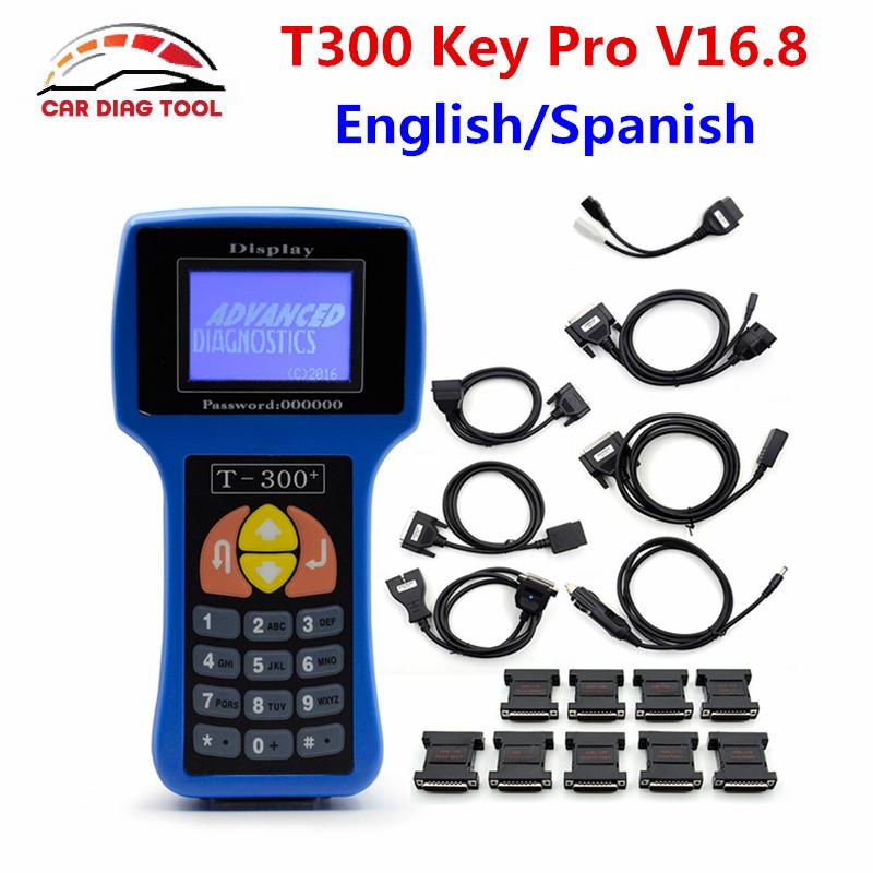 T-CODE T300 Key Programmer V16.8 Professional Universal Auto Transponder Key Decoder T 300 Car Key Prog With English Or Spanish(China (Mainland))