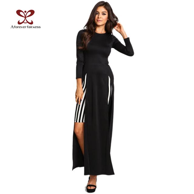 2015 Spring Женщины Dress Длинный Рукав High Split Длинный Maxi Dress Sexy Жилетidos ...