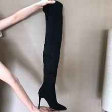 10.5 cm Hakken Vrouwen Schoenen Jurk Over Knie Winter Laarzen Vrouw Faux Suede Lederen Laars Vrouwen Dij Hoge Laarzen Dames sneeuw Schoen(China)
