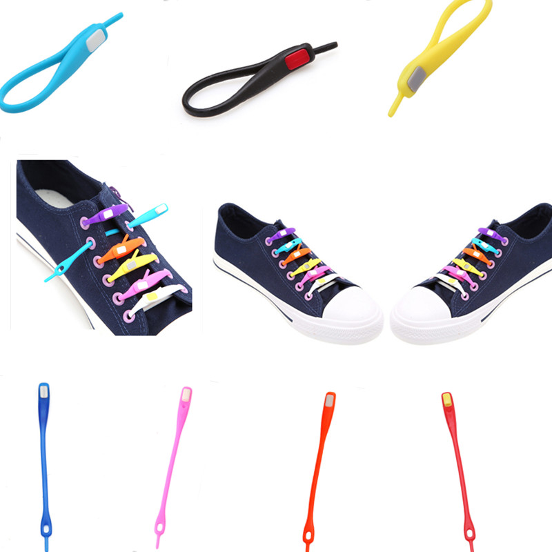 10 PCS /pack Novelty No Tie Shoelaces Unisex Elastic Silicone Shoe Laces For Men Women All Sneakers Fit Strap Sport PU Canvas(China (Mainland))
