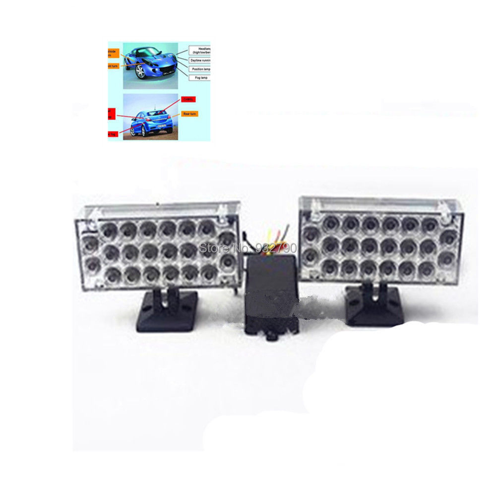 2x 22 led white car light flashing emergency warning grill. Black Bedroom Furniture Sets. Home Design Ideas