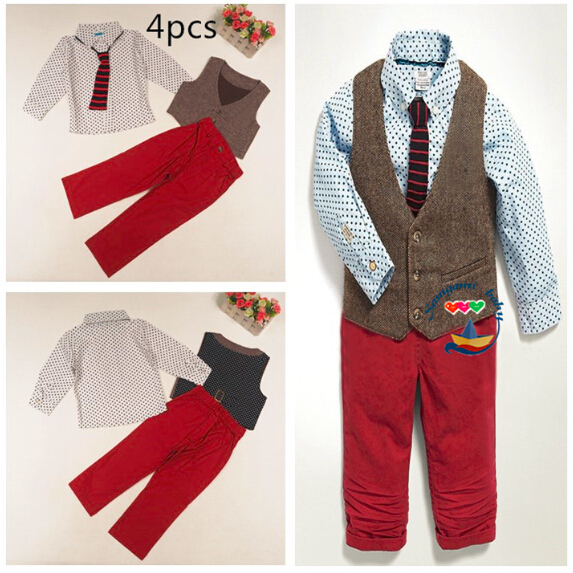 New 2015 boys long sleeve dot shirt + vest + red Trousers set Gentleman Children casual suit kids cotton fashion wear 6set/lot<br><br>Aliexpress